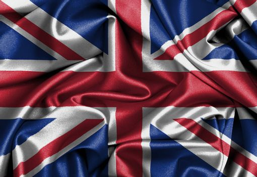 Satin flag, three dimensional render, flag of the United Kingdom