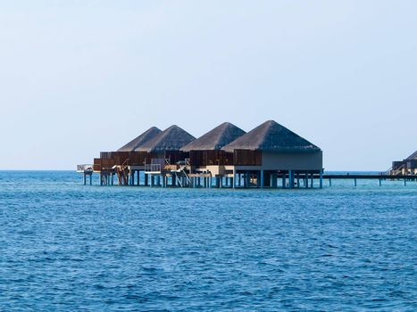 Water villa cottages in the ocean