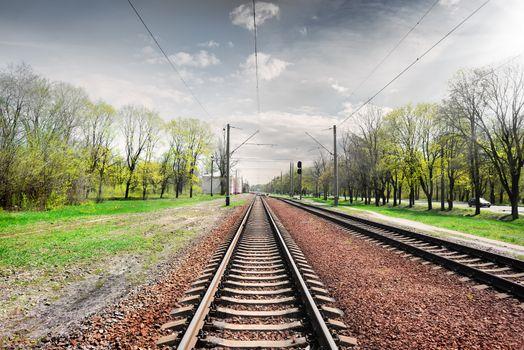 Gray sky over railroad