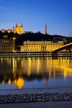 Lyon blue hour