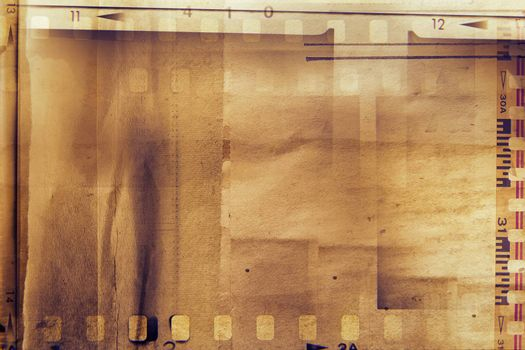 Film strips and grunge paper
