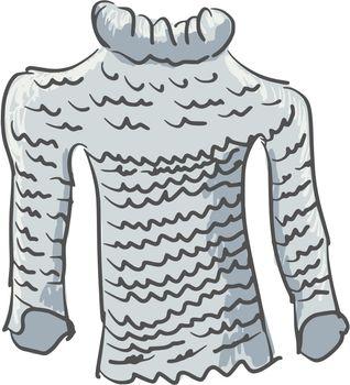 hand drawn, cartoon, sketch illustration of sweater