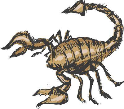 hand drawn, cartoon, sketch illustration of scorpion