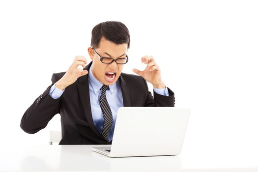 crazy businessman feeling angry