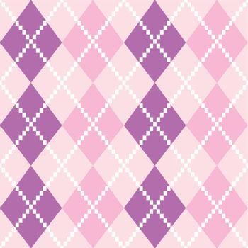 Argyle pattern in purple shades. Vector background