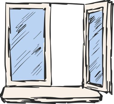 hand drawn, sketch, cartoon illustration of window