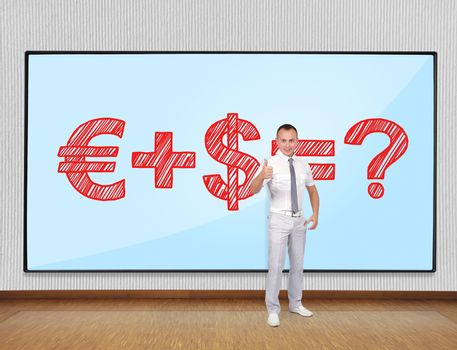 Young businessman showing thumb up and plasma with business formula