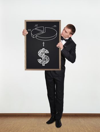 businessman standing in office and  holding blackboard with business concept