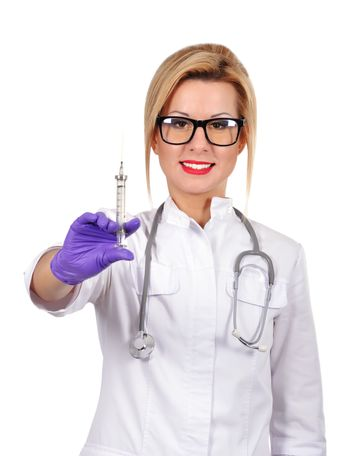 happy female doctor with syringe on a white background