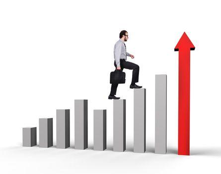 businessman with briefcase climbing a graph column