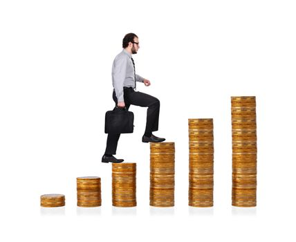 businessman climbing up  on chart of gold coins