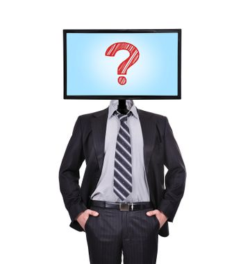 businessman and monitor with question  for a head