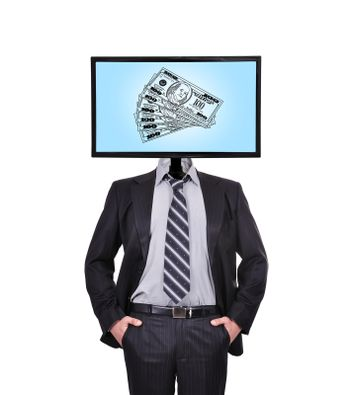 businessman and monitor with dollars for a head