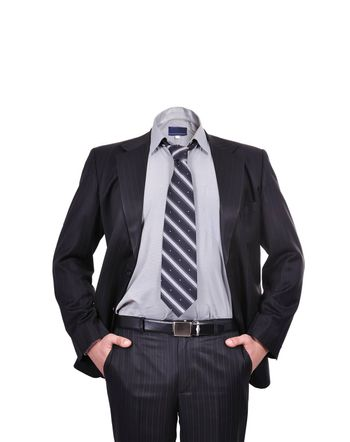 businessman standing without a head on white background