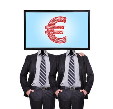 businessman and monitor with euro symbol for a head
