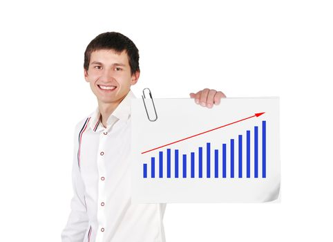 guy holding poster with chart