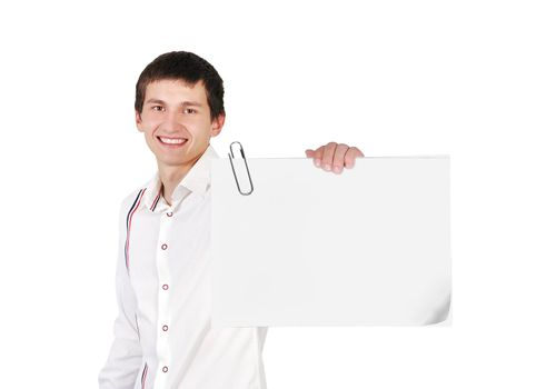 young guy holding blank poster