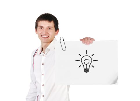 guy holding poster with light bulb