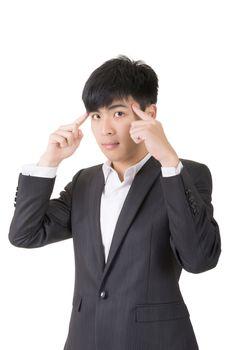Asian businessman think