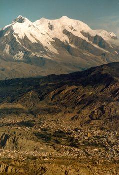 Landscape with mountain range in the background, Macrodistrito Maximiliano Paredes, La Paz, Bolivia