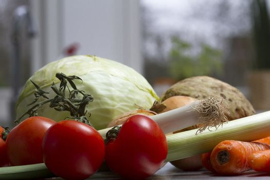 fresh vegetables on kitchen table