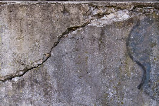 Cracked concrete wall background.