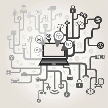 Transport in a computer network. A vector illustration