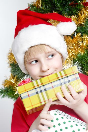 Small Santa Klaus with gifts in hands