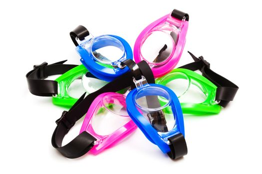 goggles for swimming on a white background