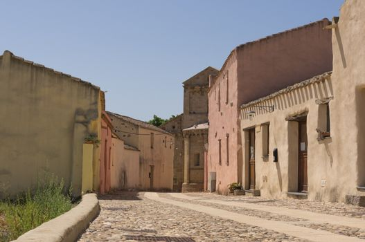 Road in the center of a Sardinian village