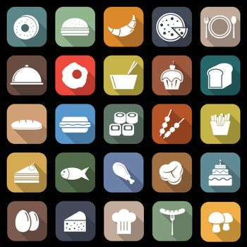 Food flat icons with long shadow, stock vector