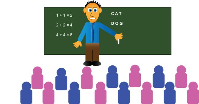 Vector design of young male teacher with a class full of pink and blue schoolchildren models. He is standing in front of a chalkboard with various lessons chalked on it.