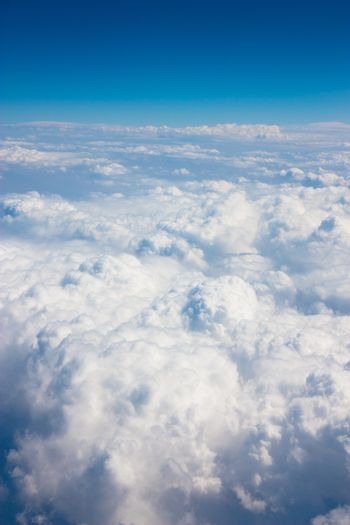 Top view of clouds from airplane