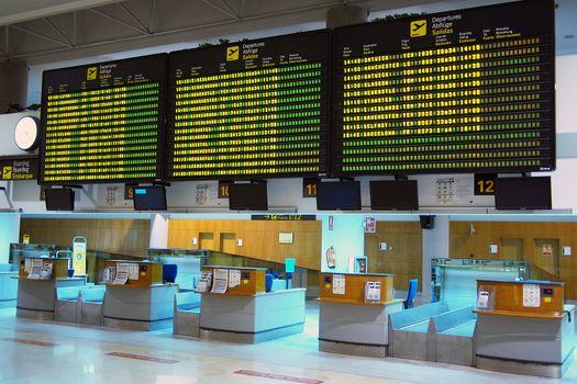 Flights information board in airport
