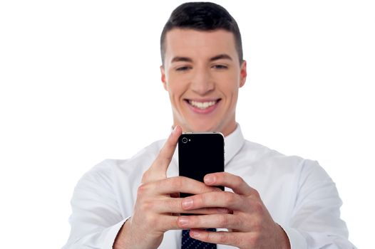 Smiling young relaxed businessman