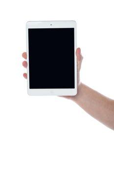 Human hand displaying new tablet pc