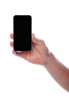 Man displaying on his smartphone display