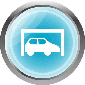 Car icon button design elements isolated on white