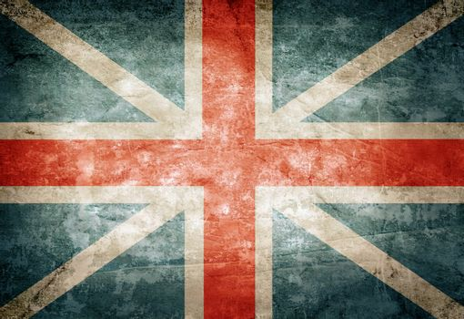 Old grunge Great Britain flag on vintage paper