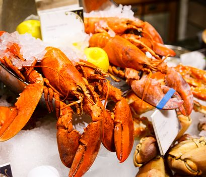 Lobsters at market