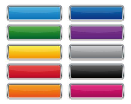 Metallic rectangular buttons