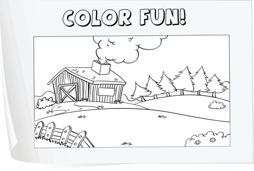 Illustration of a colouring worksheet (farm)