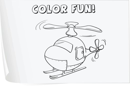 Illustration of a colouring worksheet (helicopter)