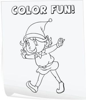 Illustration of a colouring worksheet (elf)