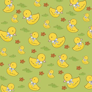 seamless background with  rubber duck, vector illustration