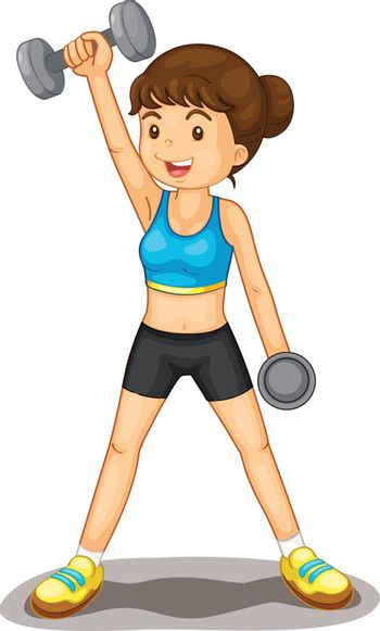 Illustration of isolated woman lifting weights
