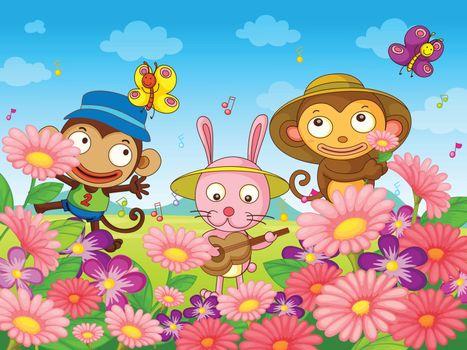 Illustration of animal characters having fun