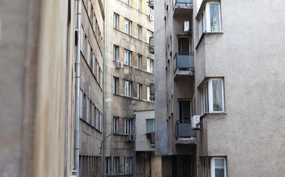narrow city buildings
