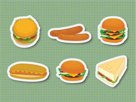 Illustration of fast food stickers
