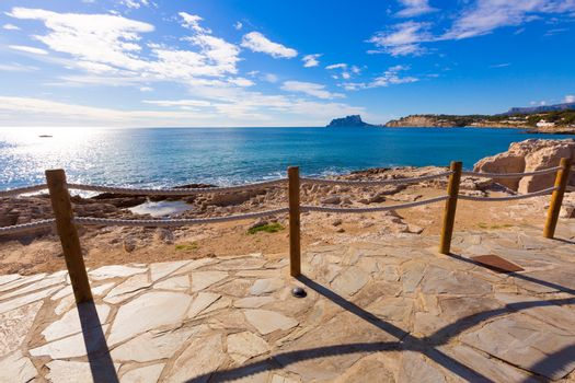Moraira in Mediterranean with Ifach penon calpe view Alicante at Spain